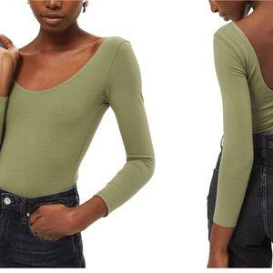 NEW Topshop Stretch Cotton Long Sleeve Bodysuit